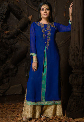 Hand Embroidered Georgette Layered Straight Kurta in Blue
