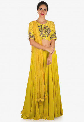 Hand Embroidered Georgette Lehenga in Mustard