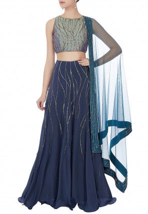 Hand Embroidered Georgette Lehenga in Navy Blue