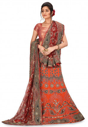 Hand Embroidered Georgette Lehenga in Orange