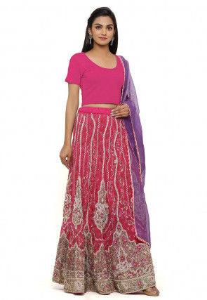 Hand Embroidered Georgette Lehenga in Pink
