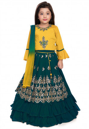 Hand Embroidered Georgette Lehenga in Teal Blue