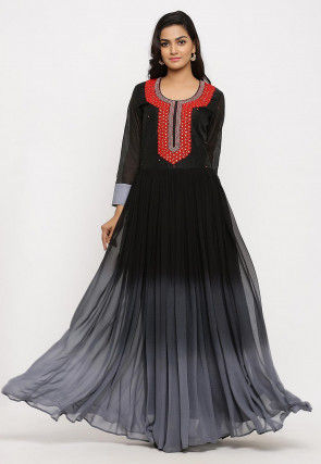 Hand Embroidered Georgette Long Kurta in Ombre Black
