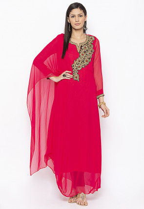 Hand Embroidered Georgette Long Kurta Set in Fuchsia
