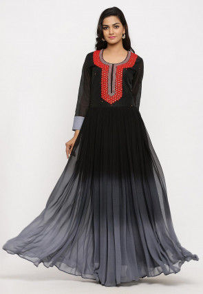 Hand Embroidered Georgette Long Kurta Set in Ombre Black