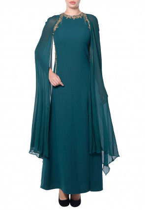 Hand Embroidered Georgette Maxi Dress in Teal Blue