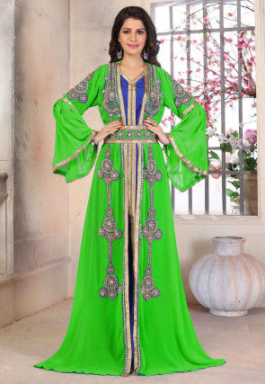 Hand Embroidered Georgette Moroccan Abaya in Green and Blue
