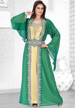 Hand Embroidered Georgette Moroccan Abaya in Green and Golden