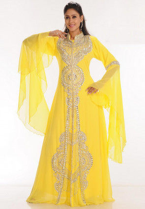 Hand Embroidered Georgette Moroccan Abaya in Yellow