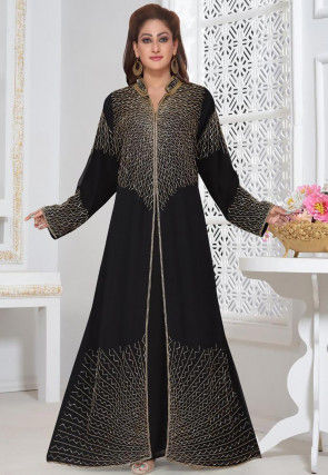 Hand Embroidered Georgette Moroccon Abaya in Black