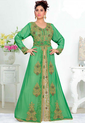 Hand Embroidered Georgette Moroccon Abaya in Green and White
