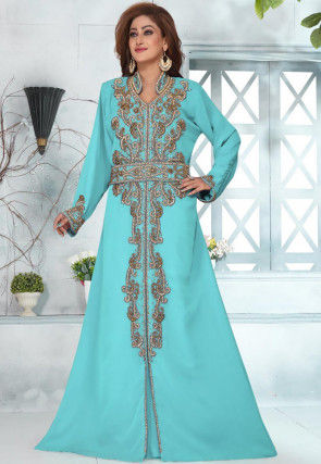 Hand Embroidered Georgette Moroccon Abaya in Light Blue