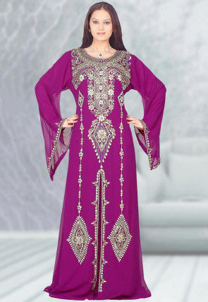 Hand Embroidered Georgette Moroccon Abaya in Magenta