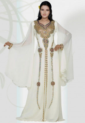 Hand Embroidered Georgette Moroccon Abaya in Off White