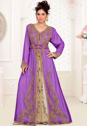 Hand Embroidered Georgette Moroccon Abaya in Purple and White