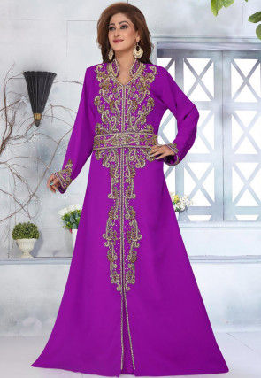 Hand Embroidered Georgette Moroccon Abaya in Purple