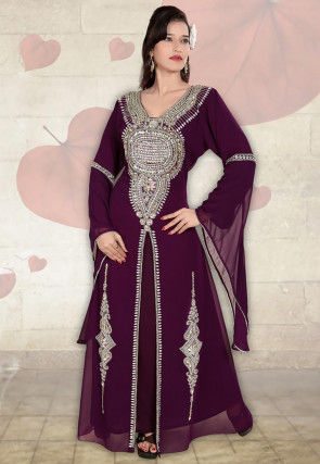 Hand Embroidered Georgette Moroccon Abaya in Wine