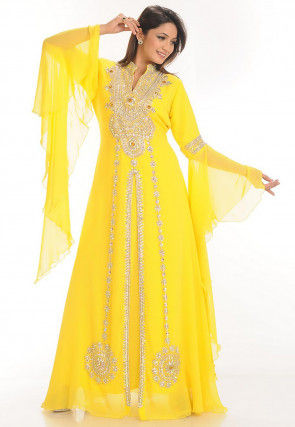 Hand Embroidered Georgette Moroccon Abaya in Yellow