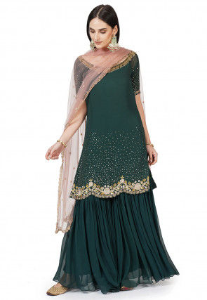 Hand Embroidered Georgette Pakistani Suit in Dark Teal Green