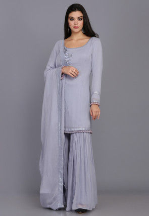 Hand Embroidered Georgette Pakistani Suit in Light Grey