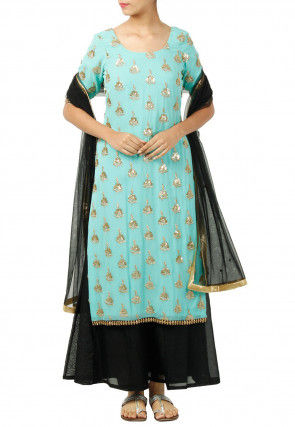 Hand Embroidered Georgette Pakistani Suit in Turquoise