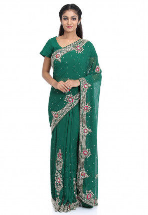 Hand Embroidered Georgette Pre-stiched Saree in Teal Green