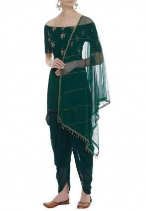 Hand Embroidered Georgette Punjabi Suit in Dark Green