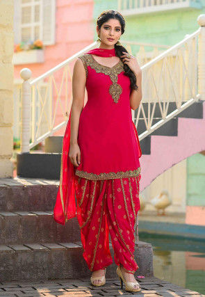 Hand Embroidered Georgette Punjabi Suit in Fuchsia