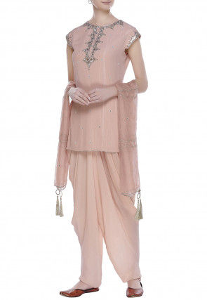 Hand Embroidered Georgette Punjabi Suit in Peach