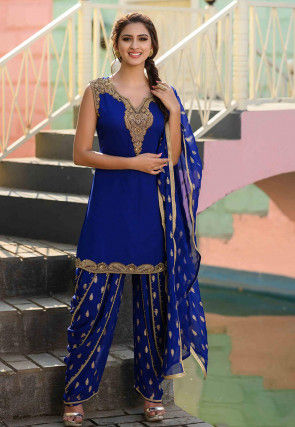 Hand Embroidered Georgette Punjabi Suit in Royal Blue