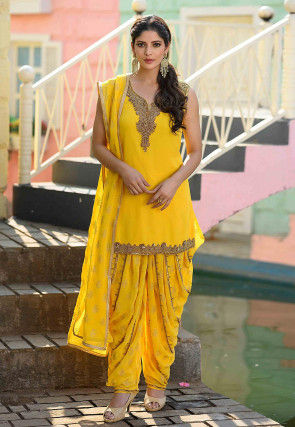 Hand Embroidered Georgette Punjabi Suit in Yellow