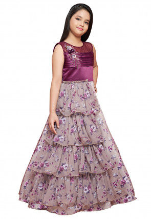 Hand Embroidered Georgette Ruffled Gown in Fawn and Wine