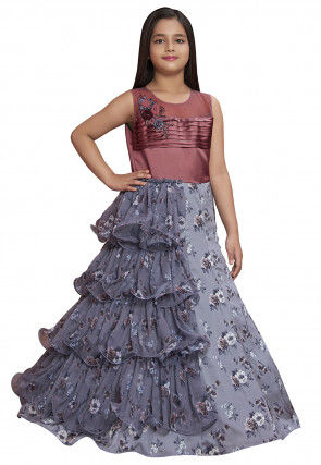 Hand Embroidered Georgette Ruffled Gown in Grey and Old Rose