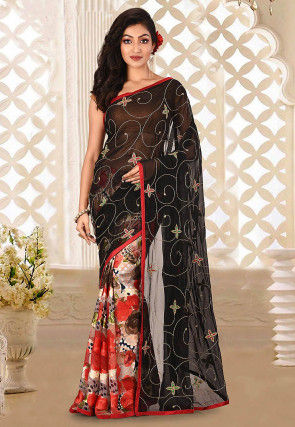 Hand Embroidered Georgette Saree in Black and Multicolor