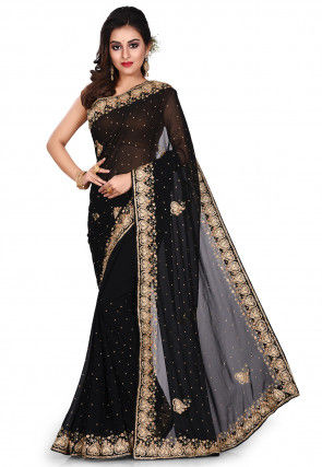 Hand Embroidered Georgette Saree in Black