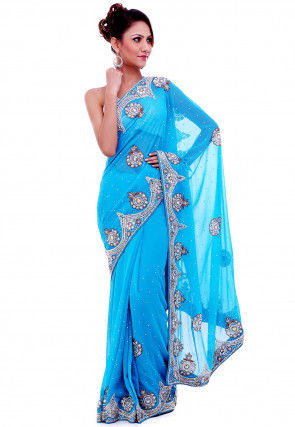 Hand Embroidered Georgette Saree in Blue
