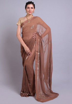Hand Embroidered Georgette Saree in Brown Ombre