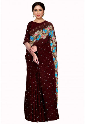 Hand Embroidered Georgette Saree in Brown