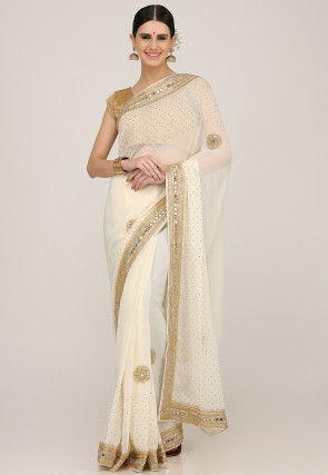 Hand Embroidered Georgette Saree in Cream