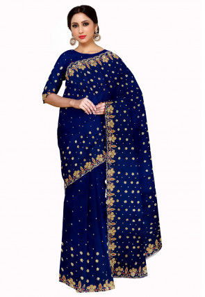 Hand Embroidered Georgette Saree in Dark Blue