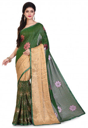 Hand Embroidered Georgette Saree in Dark Green and Golden