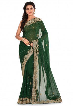 Hand Embroidered Georgette Saree in Dark Green