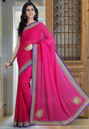 Hand Embroidered Georgette Saree in Fuchsia