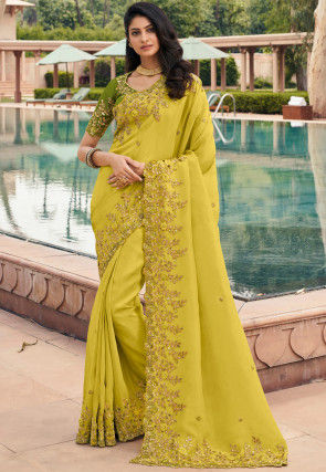 Hand Embroidered Georgette Saree in Light Green