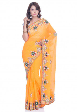 Hand Embroidered Georgette Saree in Light Orange