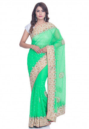 Hand Embroidered Georgette Saree in Light Teal Green