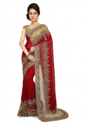 Hand Embroidered Georgette Saree in Maroon