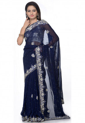Hand Embroidered Georgette Saree in Navy Blue