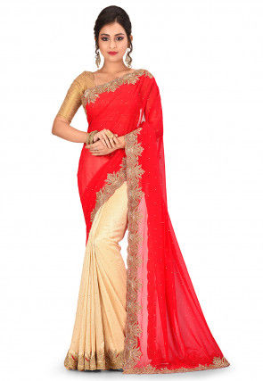 Hand Embroidered Georgette Saree in Red and Beige