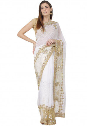 Hand Embroidered Georgette Saree in White